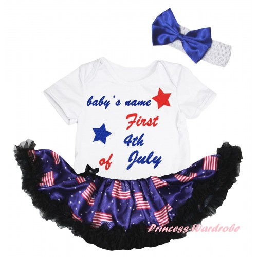 American's Birthday White Baby Bodysuit Jumpsuit Black Patriotic American Pettiskirt & Baby's Name First 4th of July Painting JS6633