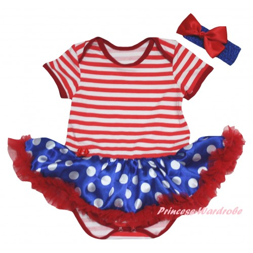 American's Birthday Red White Striped Baby Bodysuit Jumpsuit Royal Blue White Dots Pettiskirt JS6646