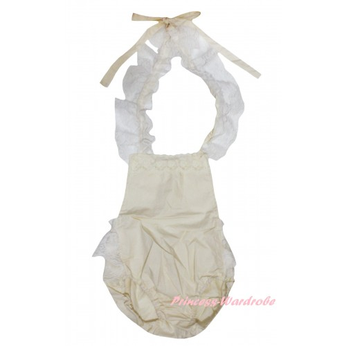 Cream White Backless Lace Sunsuit Romper LR201