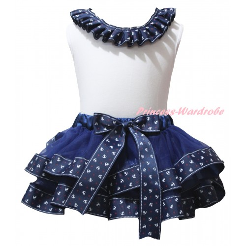 American's Birthday White Pettitop Dark Blue Anchor Lacing & Dark Blue Anchor Trimmed Pettiskirt MG2952
