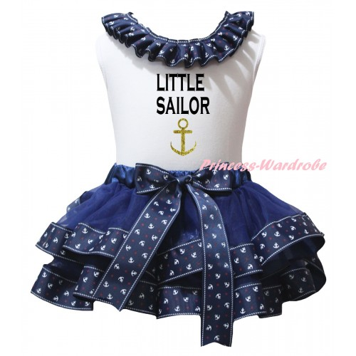 American's Birthday White Pettitop Dark Blue Anchor Lacing & Dark Blue Anchor Trimmed Pettiskirt & Little Sailor Gold Anchor Painting MG2953