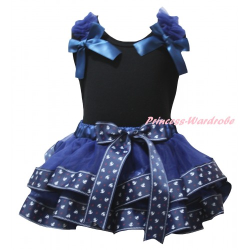 American's Birthday Black Tank Top Dark Blue Ruffles Bows & Dark Blue Anchor Trimmed Pettiskirt MG2954