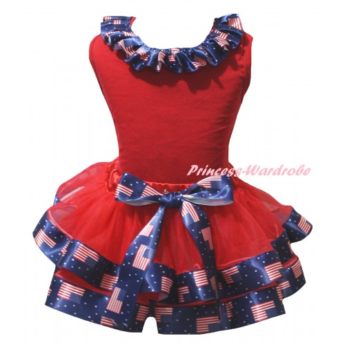 American's Birthday Red Pettitop Patriotic American Lacing & Red Patriotic American Trimmed Pettiskirt MG2956