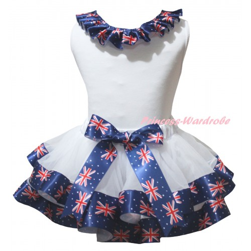 American's Birthday White Pettitop Patriotic British Lacing & White Patriotic British Trimmed Pettiskirt MG2958