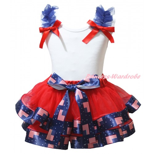American's Birthday White Tank Top Royal Blue Ruffles Red Bows & Red Patriotic American Trimmed Pettiskirt MG2960