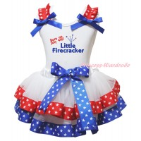 American's Birthday White Pettitop Red White Star Ruffles Royal Blue Bow & Born On July 4th Little Firecracker Painting & Royal Blue Red White Star Trimmed Pettiskirt MG2981