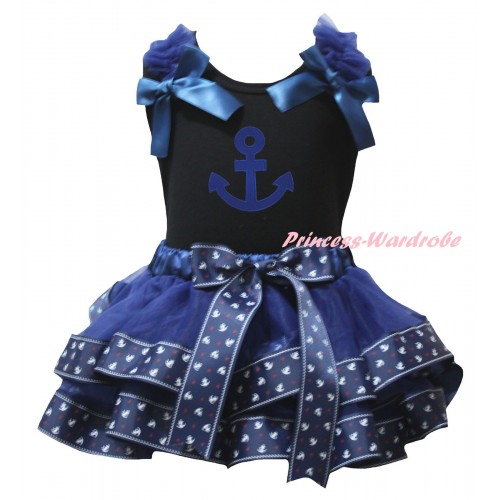 American's Birthday Black Tank Top Dark Blue Ruffles Bows & Dark Blue Anchor Trimmed Pettiskirt & Blue Anchor Print MG2995
