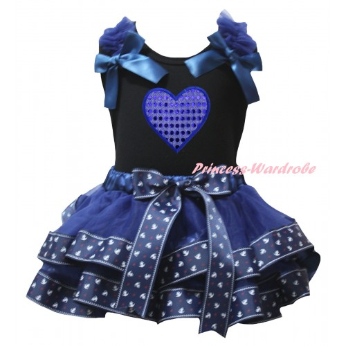American's Birthday Black Tank Top Dark Blue Ruffles Bows & Dark Blue Anchor Trimmed Pettiskirt & Sparkle Blue Heart Print MG2996