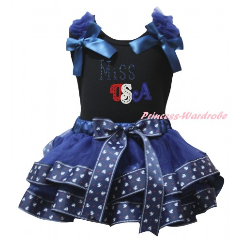 American's Birthday Black Tank Top Dark Blue Ruffles Bows & Dark Blue Anchor Trimmed Pettiskirt & Sparkle Rhinestone Miss USA Print MG2997