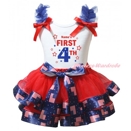 American's Birthday White Tank Top Royal Blue Ruffles Red Bows & Red Patriotic American Trimmed Pettiskirt & Name's First 4th Painting MG3017