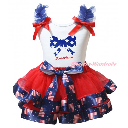 American's Birthday White Tank Top Royal Blue Ruffles Red Bows & Red Patriotic American Trimmed Pettiskirt & Blue White Star Bow American Painting MG3019