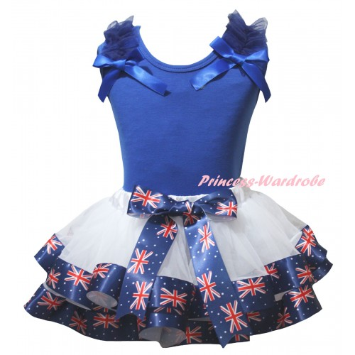 American's Birthday Blue Tank Top Dark Blue Ruffles Bows & White Patriotic British Trimmed Pettiskirt MG3037