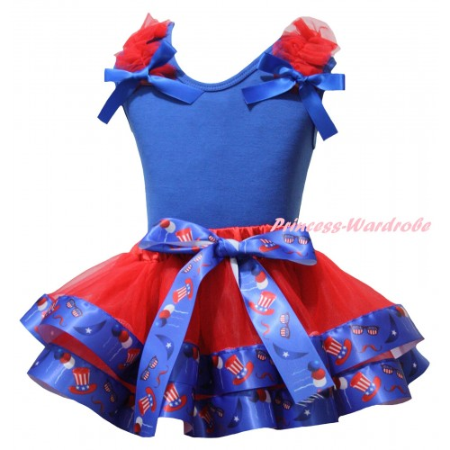 American's Birthday Blue Tank Top Red Ruffles Blue Bows & Red US Hat Trimmed Pettiskirt MG3046