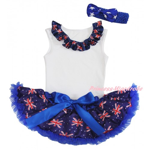 American's Birthday White Baby Pettitop & Patriotic British Lacing & Royal Blue Patriotic British Baby Pettiskirt NG2438