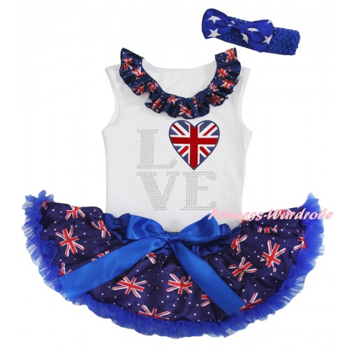 American's Birthday White Baby Pettitop & Patriotic British Lacing & Love British Heart Print & Royal Blue Patriotic British Baby Pettiskirt NG2439