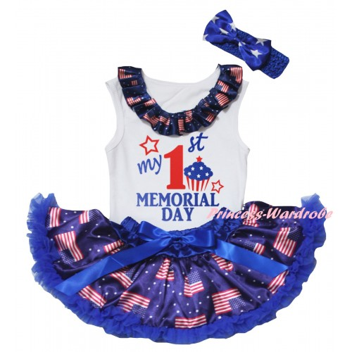 American's Birthday White Baby Pettitop & Patriotic American Lacing & My 1st Memorial Day Painting & Royal Blue Patriotic American Baby Pettiskirt NG2441