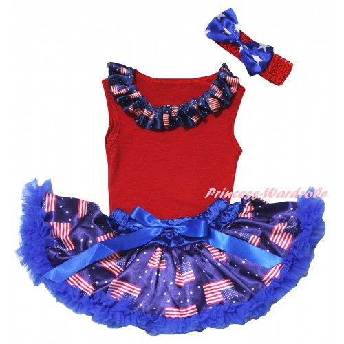 American's Birthday Red Baby Pettitop & Patriotic American Lacing & Royal Blue Patriotic American Baby Pettiskirt NG2442