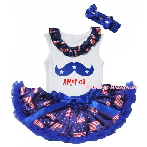 American's Birthday White Baby Pettitop & Patriotic American Lacing & Blue Moustache With Red America Painting & Royal Blue Patriotic American Baby Pettiskirt NG2445