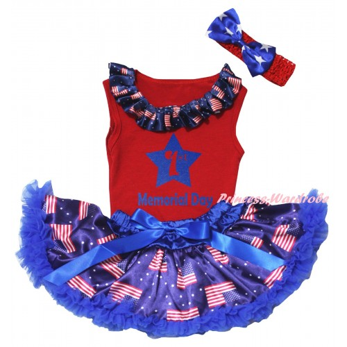 American's Birthday Red Baby Pettitop & Patriotic American Lacing & Blue 1st Memorial Day Painting & Royal Blue Patriotic American Baby Pettiskirt NG2447