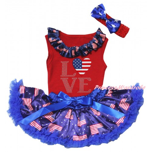 American's Birthday Red Baby Pettitop & Patriotic American Lacing & Love American Heart Print & Royal Blue Patriotic American Baby Pettiskirt NG2449