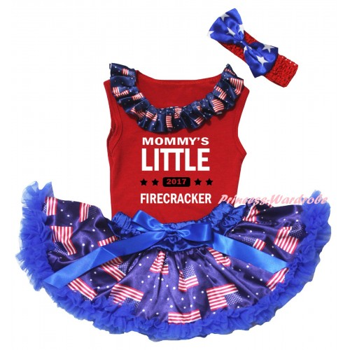 American's Birthday Red Baby Pettitop & Patriotic American Lacing & Mommy's Little 2017 Firecracker Painting & Royal Blue Patriotic American Baby Pettiskirt NG2450