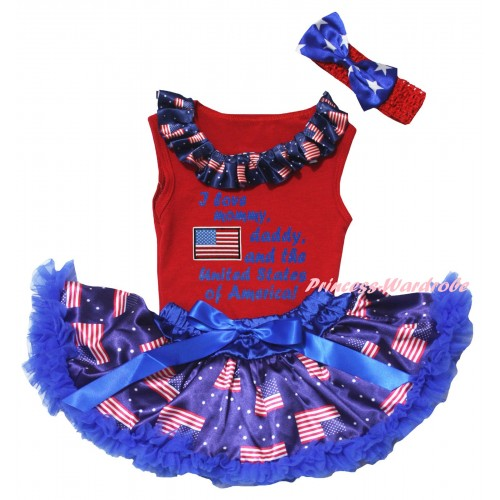 American's Birthday Red Baby Pettitop & Patriotic American Lacing & Patriotic America Flag I Love Mommy, Daddy, And The United States of America! Painting & Royal Blue Patriotic American Baby Pettiskirt NG2451