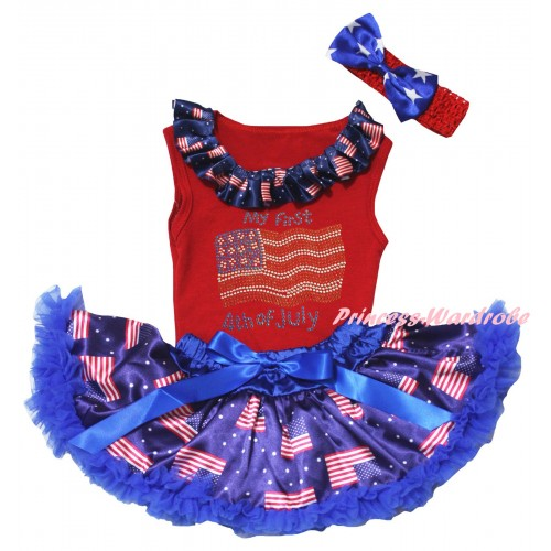 American's Birthday Red Baby Pettitop & Sparkle Crystal Bling Rhinestone My First 4th Of July Print & Royal Blue Patriotic American Baby Pettiskirt NG2453