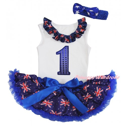 American's Birthday White Baby Pettitop & Patriotic British Lacing & 1st Sparkle Royal Blue Birthday Number Print & Royal Blue Patriotic British Baby Pettiskirt NG2454