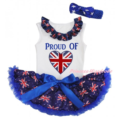 American's Birthday White Baby Pettitop & Patriotic British Lacing & PROUD OF British Heart Painting & Royal Blue Patriotic British Baby Pettiskirt NG2455