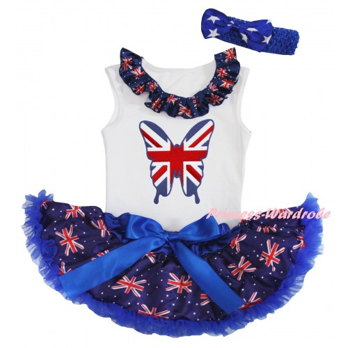 American's Birthday White Baby Pettitop & Patriotic British Lacing & Patriotic British Butterfly Print & Royal Blue Patriotic British Baby Pettiskirt NG2456