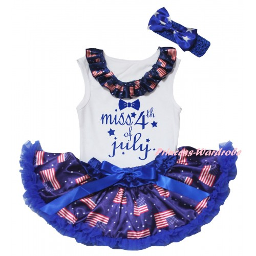 American's Birthday White Baby Pettitop & Patriotic American Lacing & Blue Miss 4th Of July Painting & Royal Blue Patriotic American Baby Pettiskirt NG2458