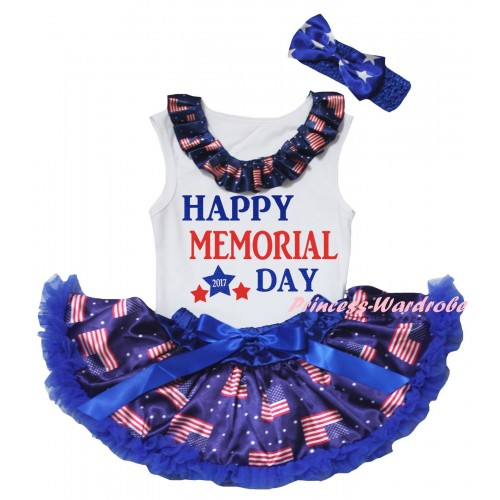 American's Birthday White Baby Pettitop & Patriotic American Lacing & Happy Memorial Day 2017 Painting & Royal Blue Patriotic American Baby Pettiskirt NG2459