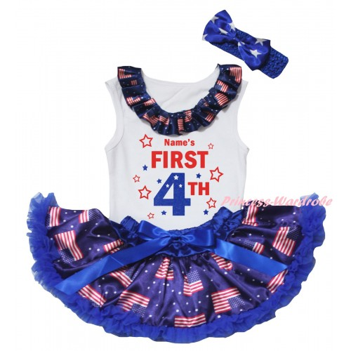 American's Birthday White Baby Pettitop & Patriotic American Lacing & Name's First 4th Painting & Royal Blue Patriotic American Baby Pettiskirt NG2463