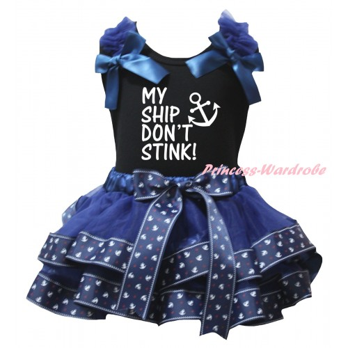 American's Birthday Black Baby Pettitop Dark Blue Ruffles Bows & Dark Blue Anchor Trimmed Newborn Pettiskirt & White My Ship Don't Stink Anchor Painting NG2467