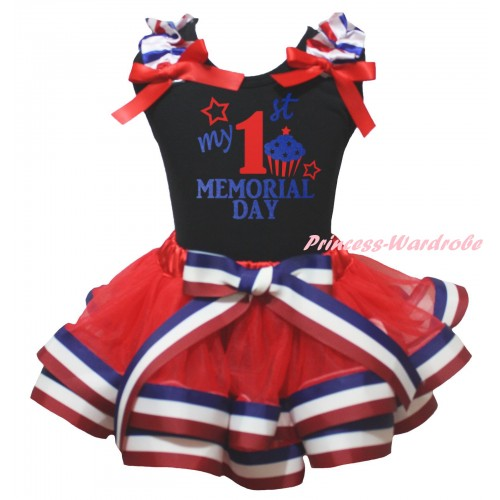 American's Birthday Black Baby Top Red White Blue Striped Ruffles Red Bows & My 1st Memorial Day Painting & Red White Blue Striped Trimmed Newborn NG2471