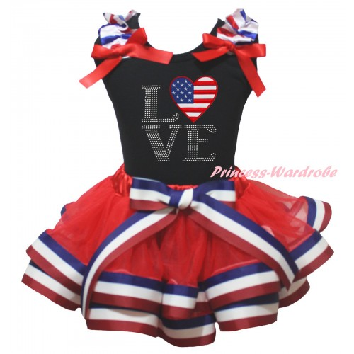 American's Birthday Black Baby Top Red White Blue Striped Ruffles Red Bows & Sparkle Rhinestone Love America Heart Flag Print & Red White Blue Striped Trimmed Newborn NG2472