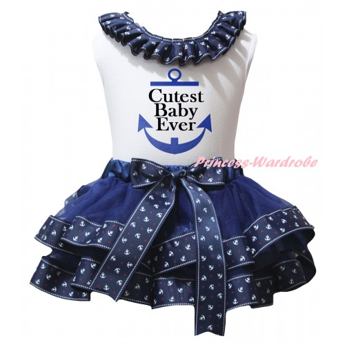 American's Birthday White Baby Pettitop Dark Blue Anchor Lacing & Dark Blue Anchor Trimmed Newborn Pettiskirt & Cutest Baby Ever Anchor Painting NG2479