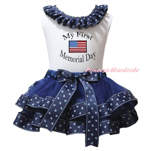 American's Birthday White Baby Pettitop Dark Blue Anchor Lacing & Dark Blue Anchor Trimmed Newborn Pettiskirt & My First America Memorial Day Painting NG2480