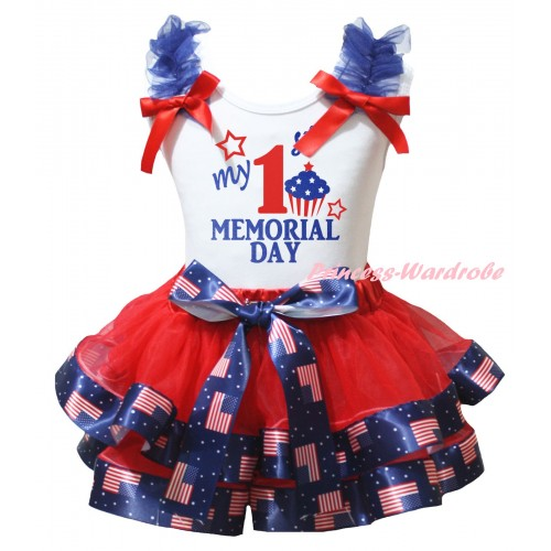 American's Birthday White Baby Top Royal Blue Ruffles Red Bows & Red Patriotic American Trimmed Newborn & My 1st Memorial Day Painting NG2496