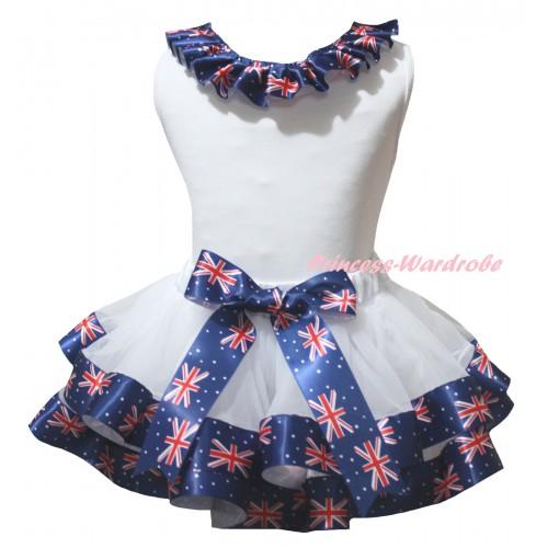 American's Birthday White Baby Pettitop Patriotic British Lacing & White Patriotic British Trimmed Newborn NG2512