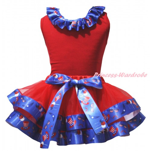 American's Birthday Red Baby Pettitop US Hat Lacing & Red US Hat Trimmed Newborn Pettiskirt NG2520