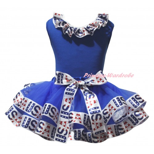American's Birthday Blue Baby Pettitop White USA Lacing & Blue White USA Trimmed Newborn  Pettiskirt NG2530