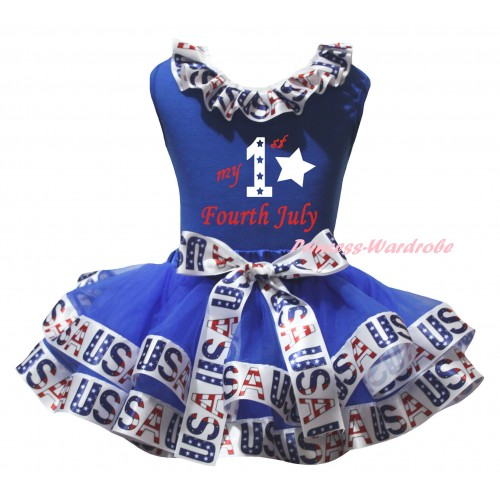 American's Birthday Blue Baby Pettitop White USA Lacing & Blue White USA Trimmed Newborn Pettiskirt & My 1st Fourth July Painting NG2533