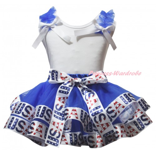 American's Birthday White Baby Pettitop Blue Ruffles White Bows & Blue White USA Trimmed Newborn Pettiskirt NG2534