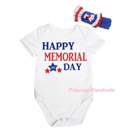American's Birthday White Baby Jumpsuit & Happy Memorial Day Painting & Blue Headband Bow TH942