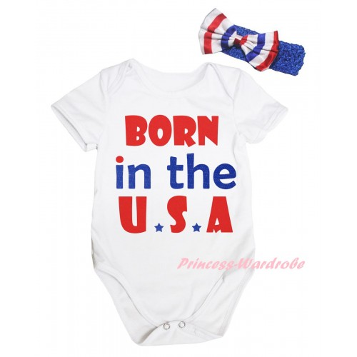 American's Birthday White Baby Jumpsuit & Born In The U.S.A Painting & Blue Headband Bow TH944
