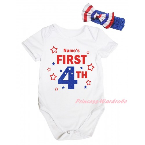 American's Birthday White Baby Jumpsuit & Name's First 4th Painting & Blue Headband Bow TH947