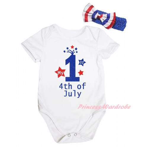 American's Birthday White Baby Jumpsuit & My 1st 4th Of July Painting & Blue Headband Bow TH948