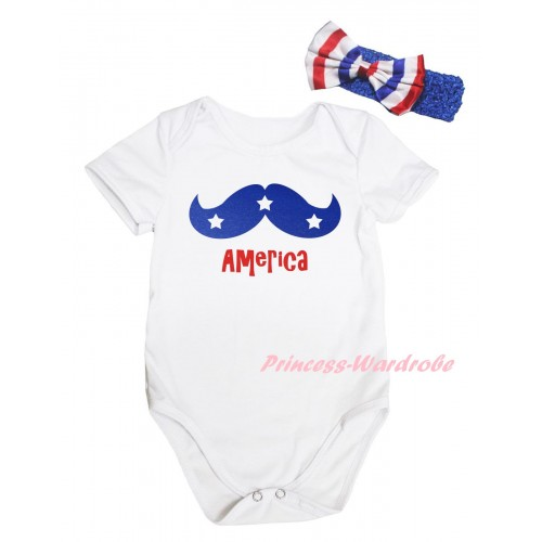 American's Birthday White Baby Jumpsuit & & Blue Moustache With Red America Painting & Blue Headband Bow TH949