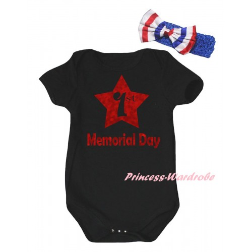 American's Birthday Black Baby Jumpsuit & Sparkle Red 1st Memorial Day Painting & Blue Headband Bow TH950